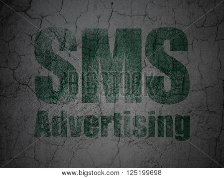 Advertising concept: SMS Advertising on grunge wall background