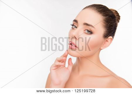 Portrait Of Attractive Sensual Young Woman Touching Her Chin