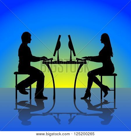 peoples are chating silhouette. with computers on blue