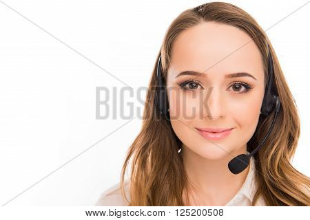 Portrait Of Beautiful Young  Woman An Agent Of Call Centre