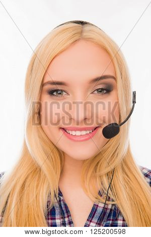 Close Up Portrait Of Cheerful Pretty Young Blonde In Headphones