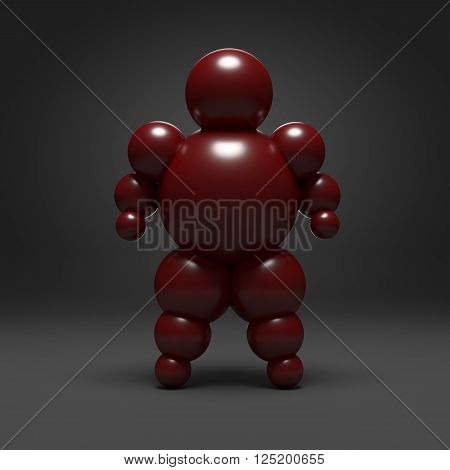 3D abstract Ballman character on a dark background
