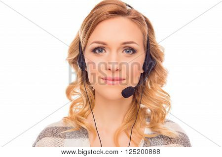 Portrait of young pretty charming agent of call center