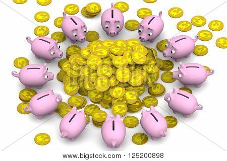 Financial success. Pink piggy banks surrounded the pile of gold coins with the symbol of the British pound sterling. Financial concept. 3D Illustration. Isolated