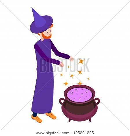 Cute wizard casts a spell above the cauldron with a potion. Wizard isolated on white background. Isometric icon of wizard. Vector illustration.