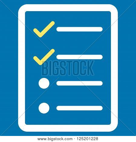 Checklist Page vector icon. Checklist Page icon symbol. Checklist Page icon image. Checklist Page icon picture. Checklist Page pictogram. Flat yellow and white checklist page icon.
