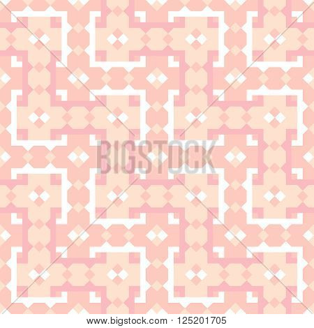 Geometric repeating pattern interwoven lattice. Vector. Seamless. Abstract colored background in beige and baby pink.