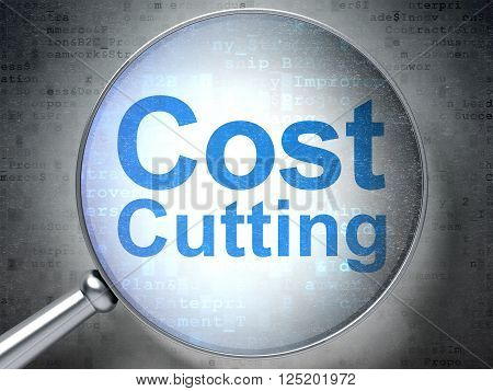 Business concept: Cost Cutting with optical glass