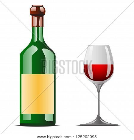 illustration of bottle of wine standing with wineglass and wine in it. red wine. items have own shadows
