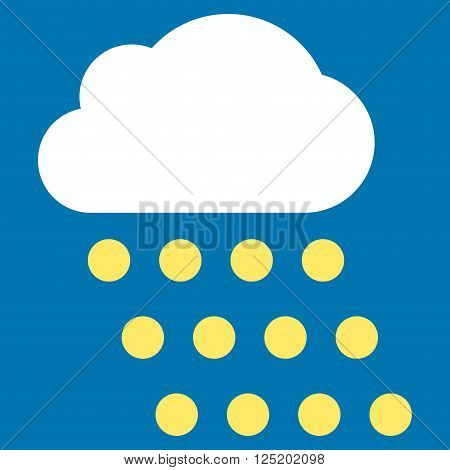 Rain Cloud vector icon. Rain Cloud icon symbol. Rain Cloud icon image. Rain Cloud icon picture. Rain Cloud pictogram. Flat yellow and white rain cloud icon. Isolated rain cloud icon graphic.