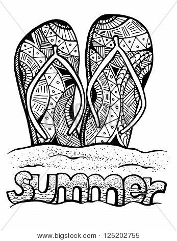 Hand drawn flip flops at the summer beach for coloring book
