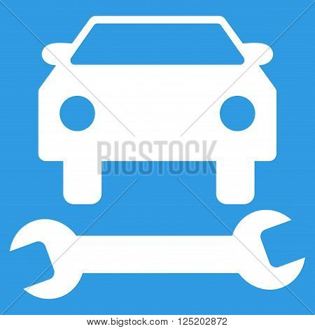 Car Repair vector icon. Car Repair icon symbol. Car Repair icon image. Car Repair icon picture. Car Repair pictogram. Flat white car repair icon. Isolated car repair icon graphic.