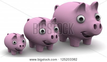 Pig piggy banks lined up in a row. Funny pig piggy Bank ranked by growth on a white surface. The concept of the growth of financial savings. Isolated. 3D Illustration