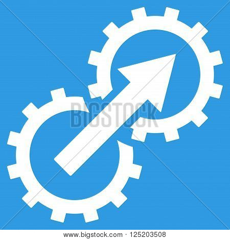 Gear Integration vector icon. Gear Integration icon symbol. Gear Integration icon image. Gear Integration icon picture. Gear Integration pictogram. Flat white gear integration icon.