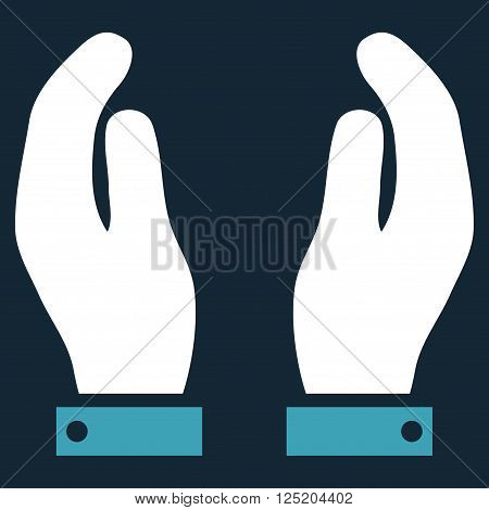 Care Hands vector icon. Care Hands icon symbol. Care Hands icon image. Care Hands icon picture. Care Hands pictogram. Flat blue and white care hands icon. Isolated care hands icon graphic.