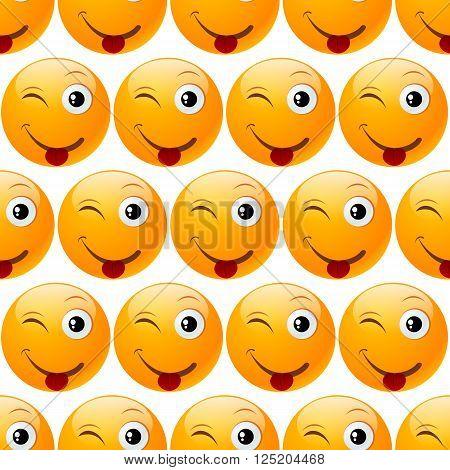 smile emoji seamless on white background. vector illustration