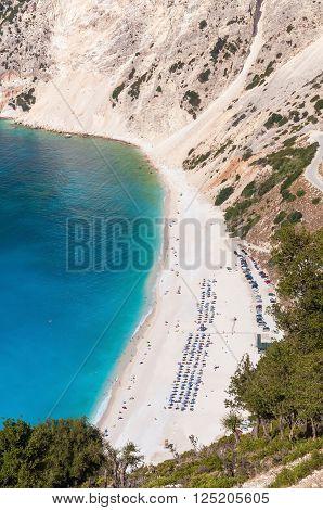 Aerial view of Myrtos beach on Kefalonia island Greece
