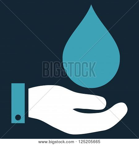 Water Service vector icon. Water Service icon symbol. Water Service icon image. Water Service icon picture. Water Service pictogram. Flat blue and white water service icon.