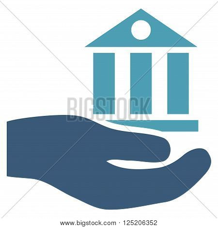 Bank Service vector icon. Bank Service icon symbol. Bank Service icon image. Bank Service icon picture. Bank Service pictogram. Flat cyan and blue bank service icon.