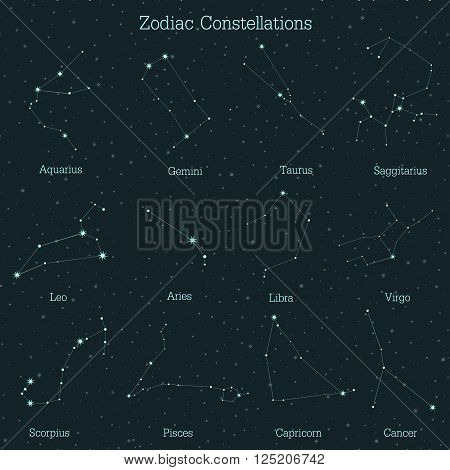 Zodiac constellations on a starry sky background.