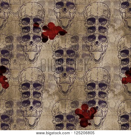 Terrible frightening seamless pattern with skull on antique grunge background. Halloween illustration