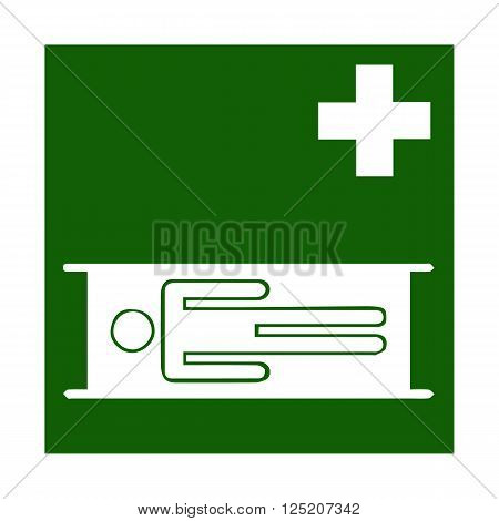 Vector fire emergency icons. Signs of evacuations. Emergency medicine in green. Chest. Stretcher, litter, pram.