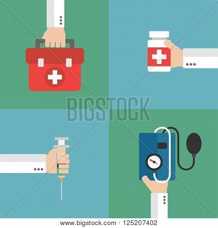 Concept Medical therapy flat design set.Vector illustration