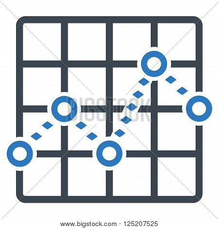 Dotted Line Grid Plot vector toolbar icon. Style is bicolor flat icon symbol, smooth blue colors, white background, rhombus dots.