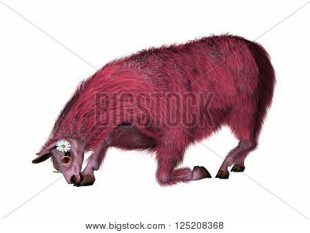 3D Illustration of a pink lama isolated on white background