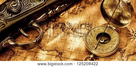 Old vintage retro compass and binoculars on ancient world map. Vintage still life. Travel geography navigation concept background.