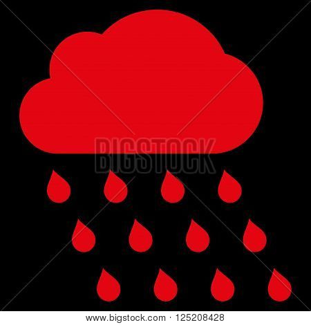 Rain Cloud vector icon. Rain Cloud icon symbol. Rain Cloud icon image. Rain Cloud icon picture. Rain Cloud pictogram. Flat red rain cloud icon. Isolated rain cloud icon graphic.