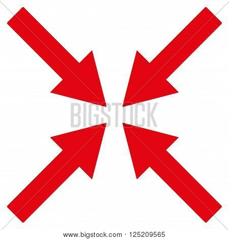 Center Arrows vector icon. Center Arrows icon symbol. Center Arrows icon image. Center Arrows icon picture. Center Arrows pictogram. Flat red center arrows icon. Isolated center arrows icon graphic.