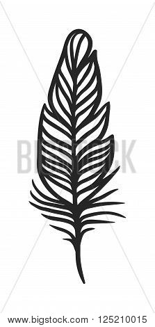 Hand drawn stylized feather black color and doodle tribal ornamental black feather. Black feather nature bird symbol. Rustic decorative black feather doodle vintage art graphic vector.