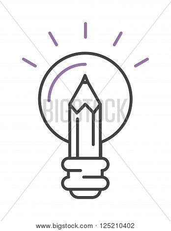 Idea symbol bulb lamp and idea icon concept. Power design lightbulb idea, innovation creativity business idea. Light lamp sign idea icon concept bulb light in hand line art vector illustration. Lamp vector