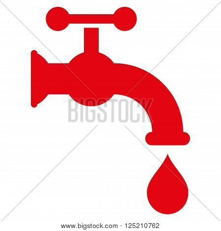 Water Tap vector icon. Water Tap icon symbol. Water Tap icon image. Water Tap icon picture. Water Tap pictogram. Flat red water tap icon. Isolated water tap icon graphic. Water Tap icon illustration.