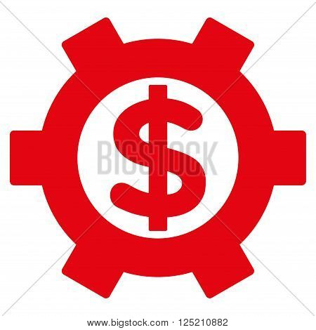 Financial Settings vector icon. Financial Settings icon symbol. Financial Settings icon image. Financial Settings icon picture. Financial Settings pictogram. Flat red financial settings icon.