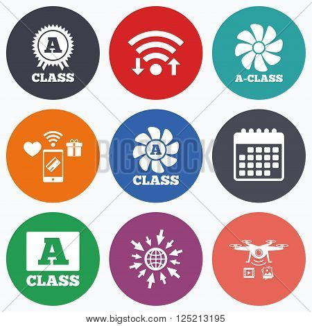 Wifi, mobile payments and drones icons. A-class award icon. A-class ventilation sign. Premium level symbols. Calendar symbol.