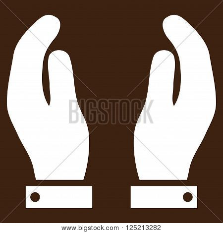 Care Hands vector icon. Care Hands icon symbol. Care Hands icon image. Care Hands icon picture. Care Hands pictogram. Flat white care hands icon. Isolated care hands icon graphic.