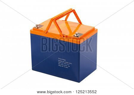 industrial lead acid battery, isolated on white