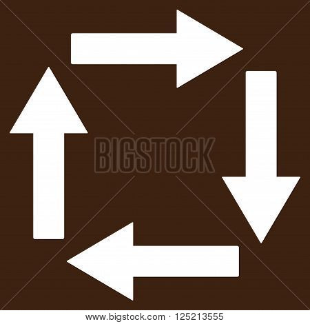 Circulation Arrows vector icon. Circulation Arrows icon symbol. Circulation Arrows icon image. Circulation Arrows icon picture. Circulation Arrows pictogram. Flat white circulation arrows icon.