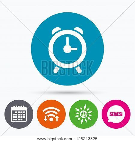 Wifi, Sms and calendar icons. Alarm clock sign icon. Wake up alarm symbol. Go to web globe.