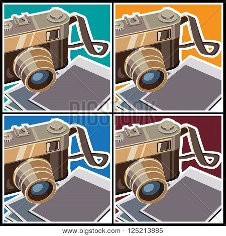 Stylized vector illustration on the theme of photography. Rangefinder camera and photos.