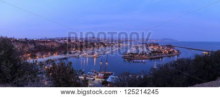 Panoramic view of Dana Point harbor at sunset in Dana Point, California, United States