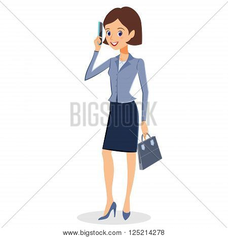 Business woman character vector. Cheerful businesswoman cartoon character using her smartphone. Illustration isolated on white background