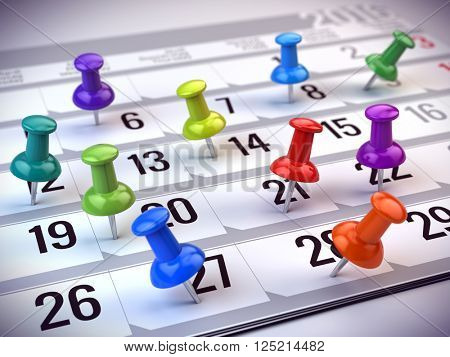 Concept of reminder, organizing time and schedule - colorful pins marking days of the month on a calendar. 3d rendering