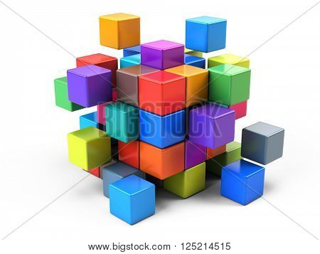Teamwork business concept - cube assembling from blocks - 3d render