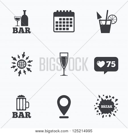 Calendar, like counter and go to web icons. Bar or Pub icons. Glass of beer and champagne signs. Alcohol drinks and cocktail symbols. Location pointer.