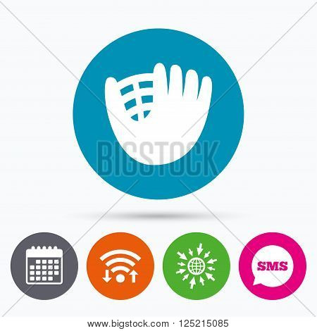 Wifi, Sms and calendar icons. Baseball glove or mitt sign icon. Sport symbol. Go to web globe.