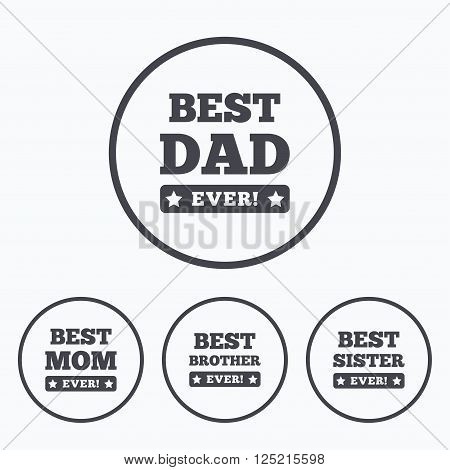 Best mom and dad, brother and sister icons. Award with exclamation symbols. Icons in circles.