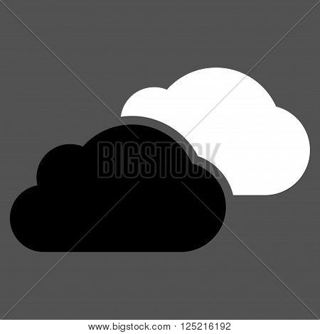 Clouds vector icon. Clouds icon symbol. Clouds icon image. Clouds icon picture. Clouds pictogram. Flat black and white clouds icon. Isolated clouds icon graphic. Clouds icon illustration.